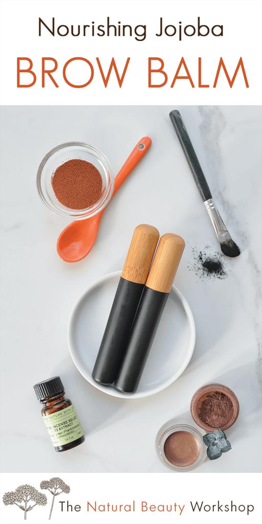 How to make Nourishing Jojoba Brow Balm - an all natural balm to condition eyebrows