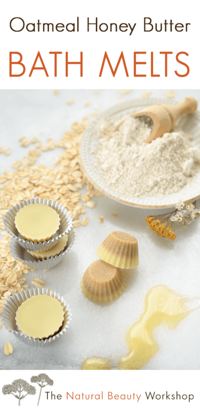 Oatmeal Honey Butter Bath Melts - Luscious fat bombs for the tub, made with soothing oat flour and a moisturizing blend of cocoa butter and virgin coconut oil