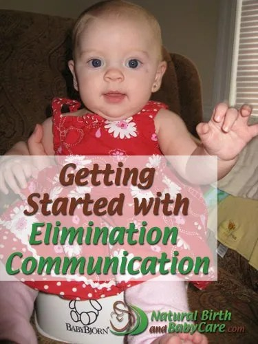 Baby girl getting started with elimination communication on a potty