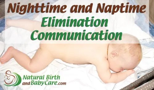 baby on a waterproof mat for nighttime elimination communication