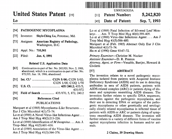 Mycoplasma Patent