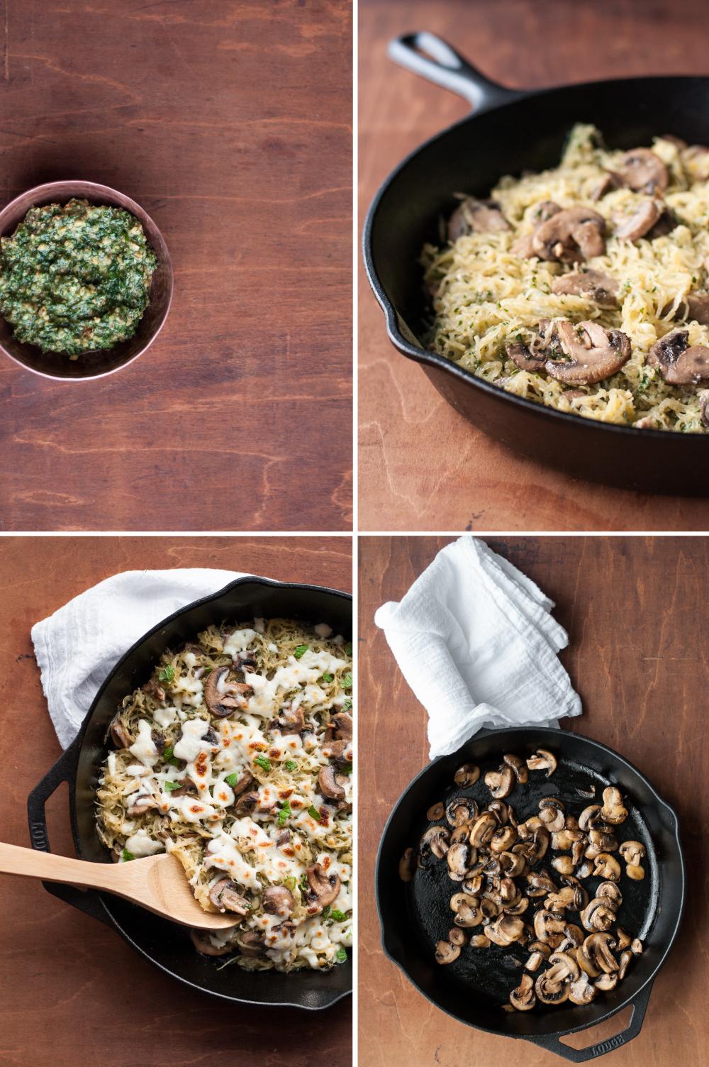 Spaghetti squash with handmade lemony pesto and mushrooms: an easy, meatless, and gluten-free weeknight dinner.