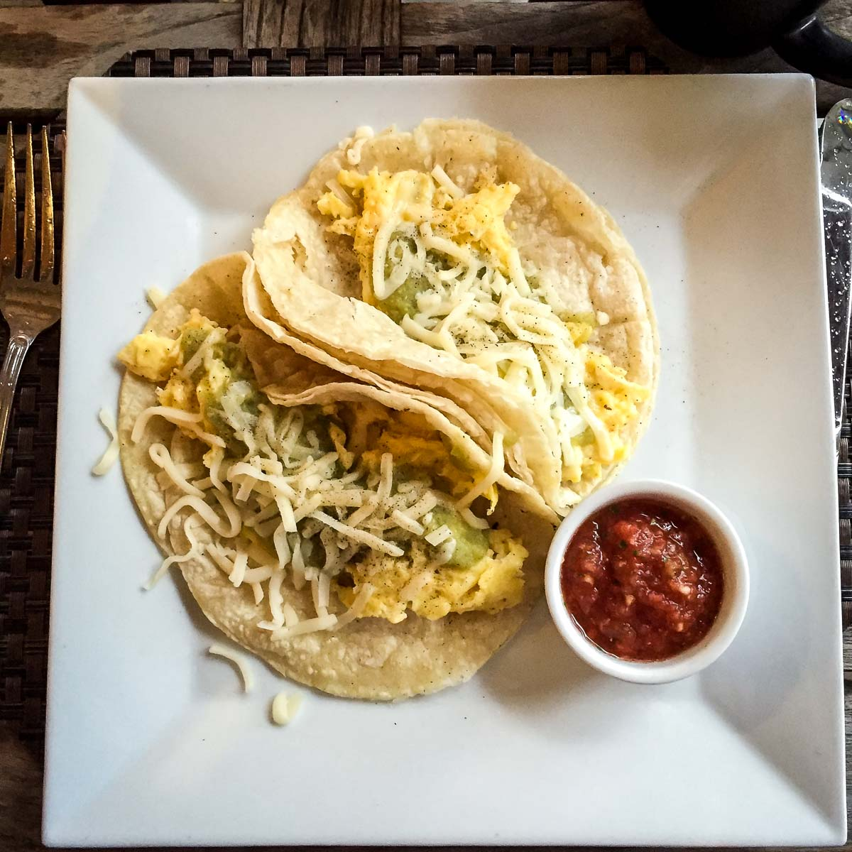 Delicious breakfast tacos at Travaasa Austin