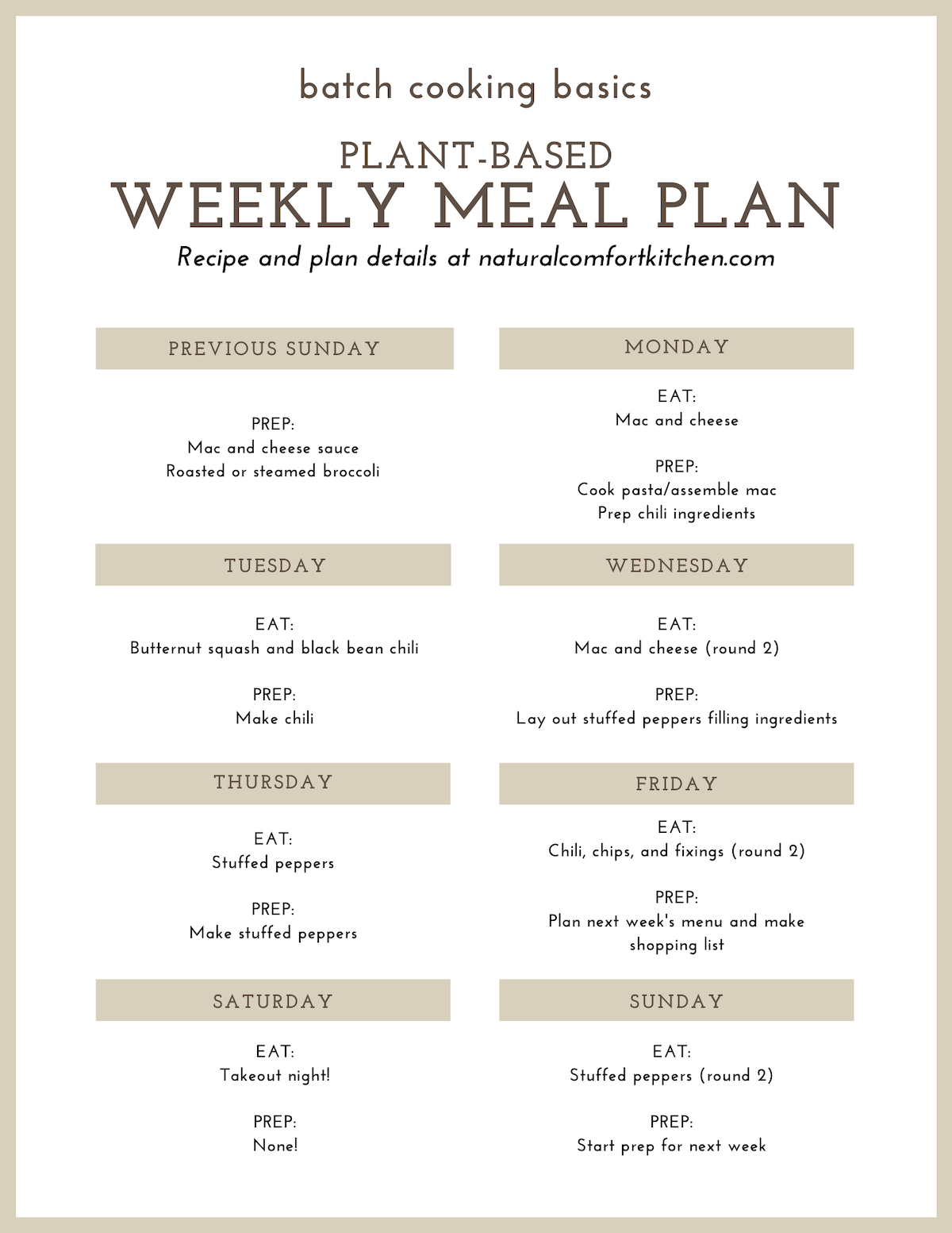 How to Batch Cook a Delicious Weekly Plant Based Meal Plan