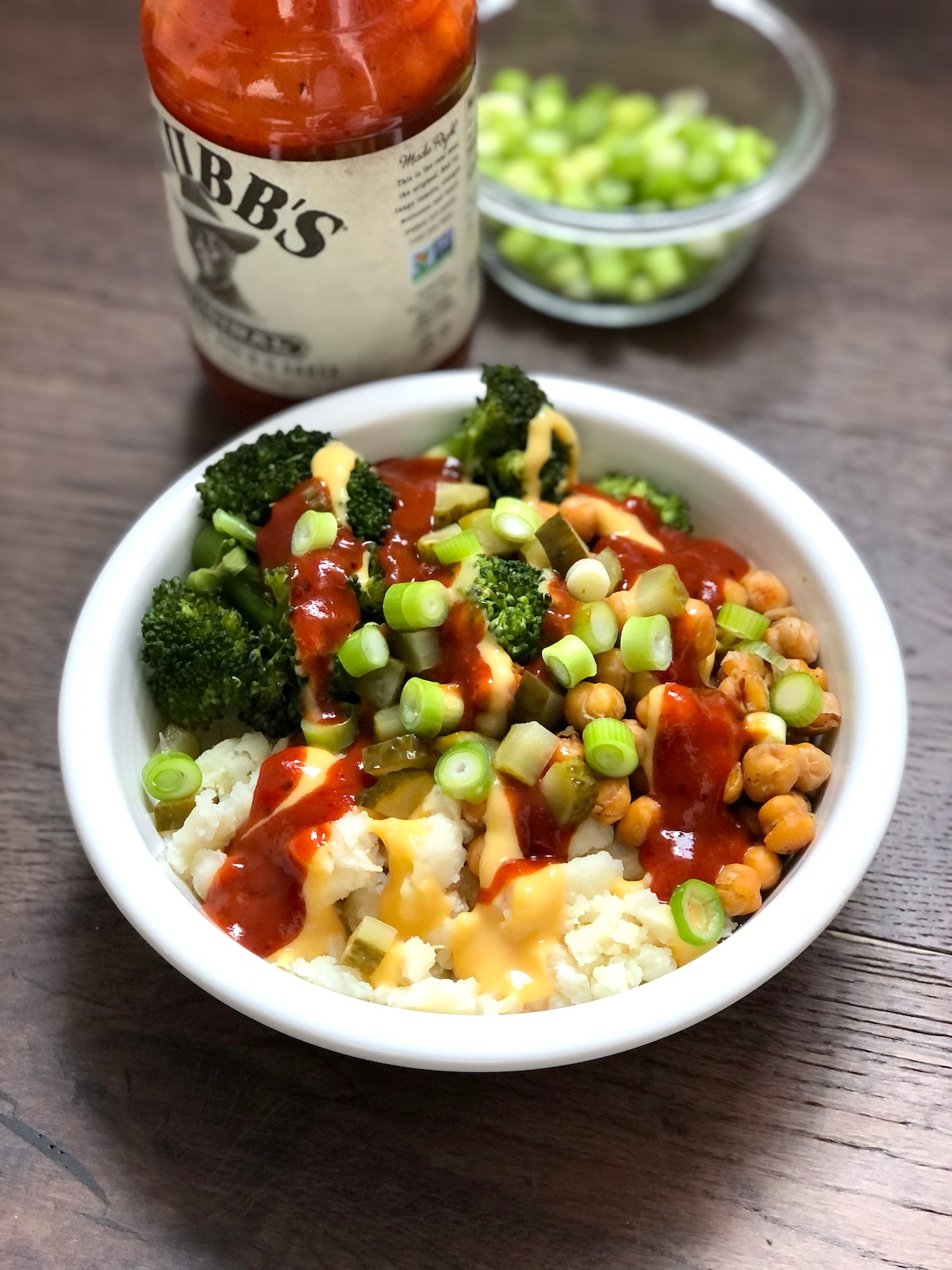 Cheezy vegan BBQ baked potato bowls--batch cooking style!