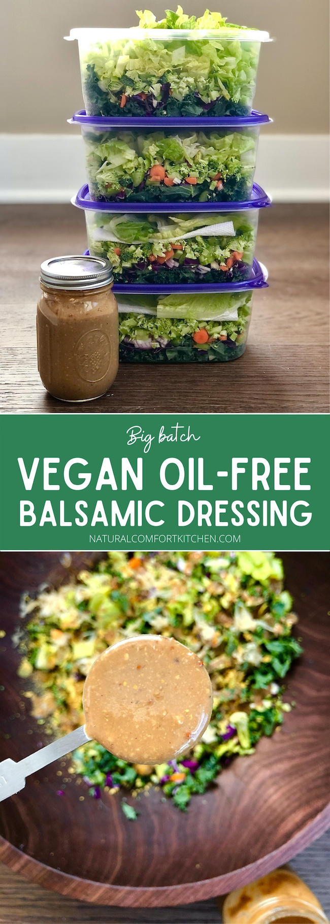 Smooth and creamy, oil-free, vegan balsamic dressing that keeps for weeks in the fridge!