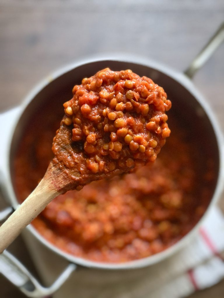 Up the protein in your vegan pasta with a big batch of TWO INGREDIENT lentil marinara tomato sauce. Ready in 30 minutes flat!