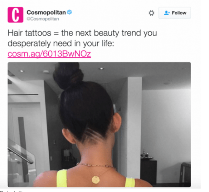 Cosmopolitan Magazine Discovers Hair Tattoos