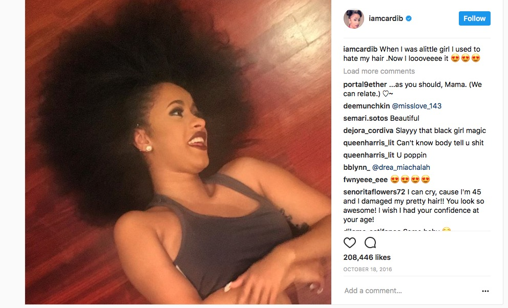 Cardi B Unveils Her Entire Back Tattoo With Bright Pink: Cardi B Reveals Her Fabulous 'Fro In Confident Instagram