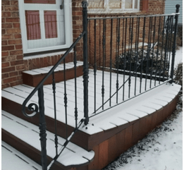 How To Replace An Outside Iron Railing Set In Cement   Replacing Wrought Iron Stair Railing Outdoor   Stair Parts   Vinyl Railing   Stair Spindles   Wood Balusters   Cast Iron Balusters