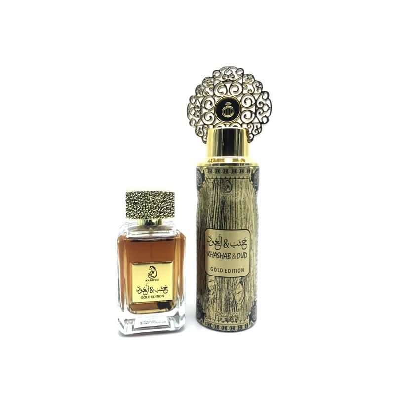 Coffret Cadeau Khashab & Oud Gold Edition Eau De Parfum 100 ml + Déodorant 200 ml My Perfumes