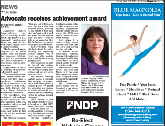 Leonora Gregory-Collura receives Award fro bringing the Voice of Autism to British Columbia - 2013 recipient for the BC Community Achievement Award