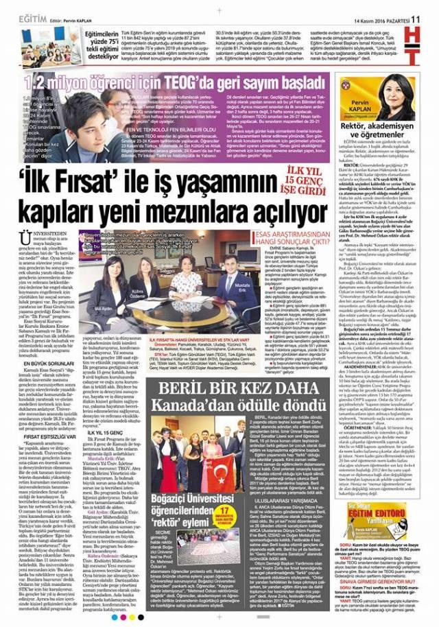 Yesim newspaper article Turkey 1 2016