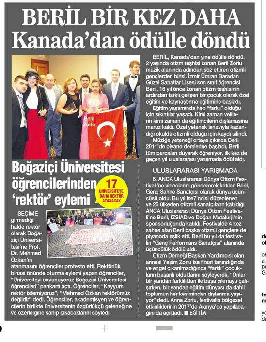 Yesim newspaper article Turkey 2 2016