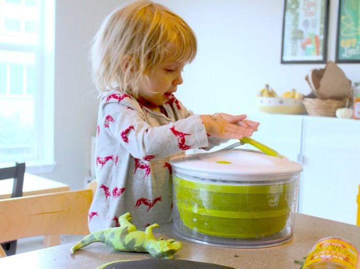 Tots in The Kitchen - Salt & Vinegar Kale Chips spinner