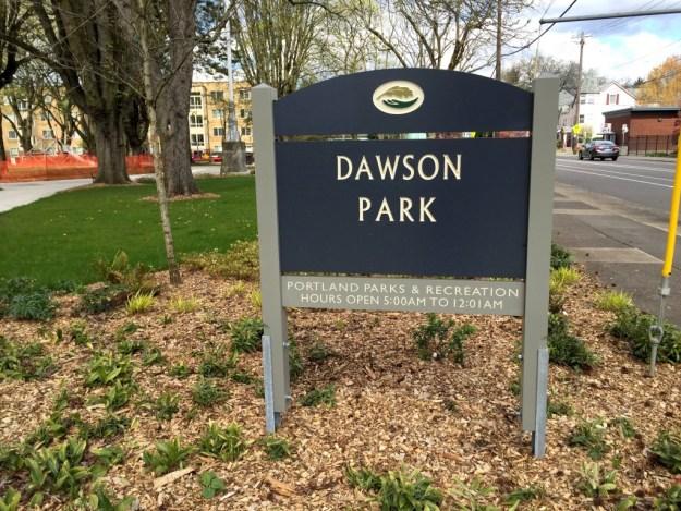 Portland Area Parks - Dawson Park - Sign