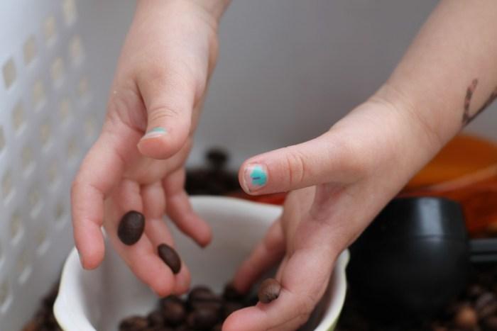 sensory box - coffee beans - play