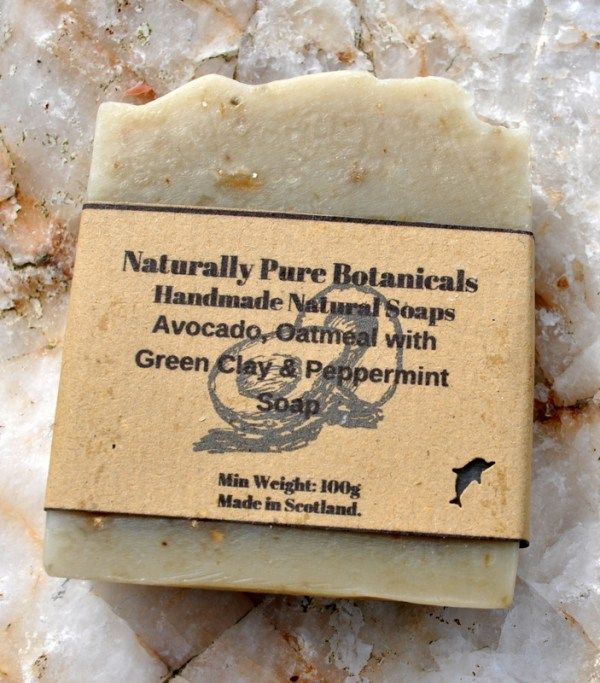 Avocado-with-green-clay-with-Oatmeal-peppermint-soap-labelled