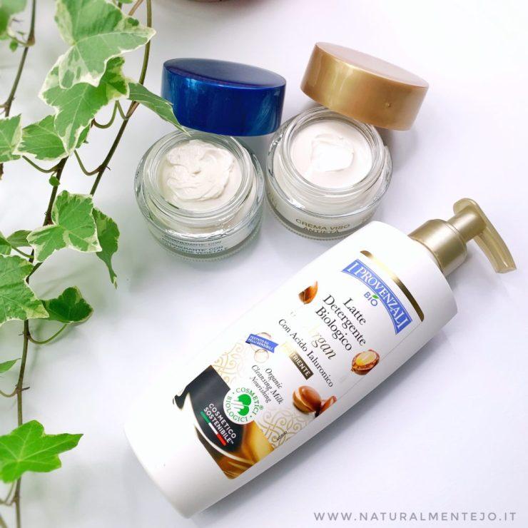 I prodotti ricevuti: latte detergente, crema viso antirughe giorno e crema viso antirughe notte