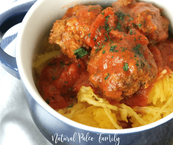One of the hardest things about going paleo is missing the comfort foods, but that doesn't have to be the case. These homemade paleo meatballs and spaghetti squash are healthy and compliant, and still hit the spot when you're looking for a traditional meal!