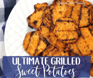 ultimate grilled sweet potatoes, pile of grilled sweet potatoes on plate