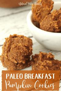 stack of paleo breakfast pumpkin cookies, bowl of healthy gluten free pumpkin cookies