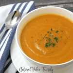 white bowl full of roasted pumpkin soup
