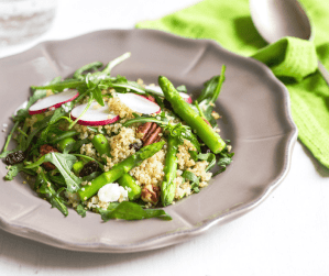 Looking for a healthy and delicious roasted asparagus salad recipe? Check out this roasted asparagus and feta quinoa salad—it's a guaranteed crowd pleaser!