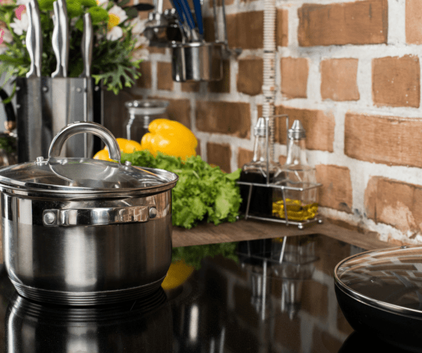 stainless steel pot on a stove
