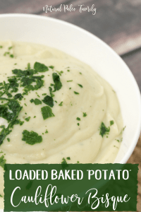 "We all know how healthy soups can be, but what nobody ever seems to mention is how boring they can be. Often times, people miss eating creamy soups, and who wouldn't?  They are thick and delicious. I made this loaded baked ""potato"" cauliflower bisque because I was missing those creamy soups too."