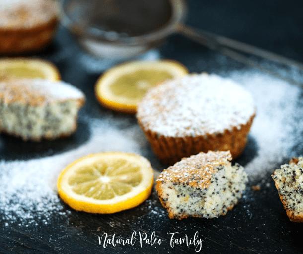 paleo lemon poppyseed muffins with lemon slices