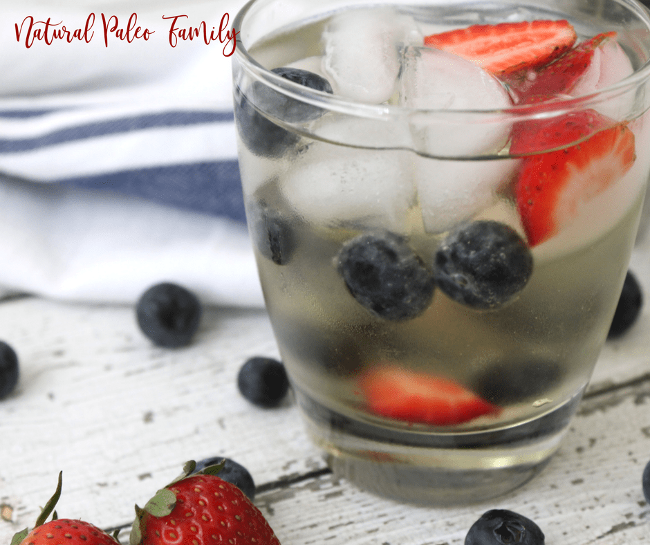 patriotic paleo margarita with strawberries and blueberries