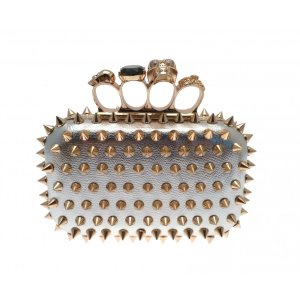 W.A.T Metallic Silver Faux Leather Gold Spike Skull Knuckle Duster Bag