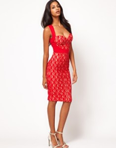 ASOS Sexy Midi Pencil with Lace Insert Valentines Day Inspiration