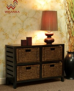 Jane 4 Wooden Wicker drawers