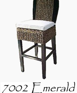 Emerald Wicker Barstool