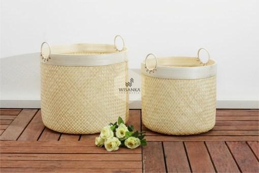 Lilac Rattan Round Bamboo Basket