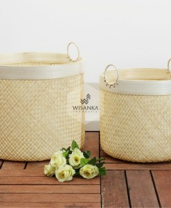 Lilac Rattan Round Bamboo Basket