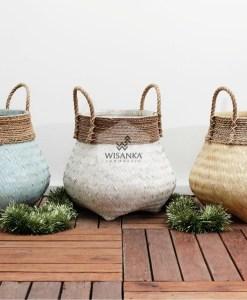 Riveira Rattan Bambuskurv Blå Hvid Naturlig