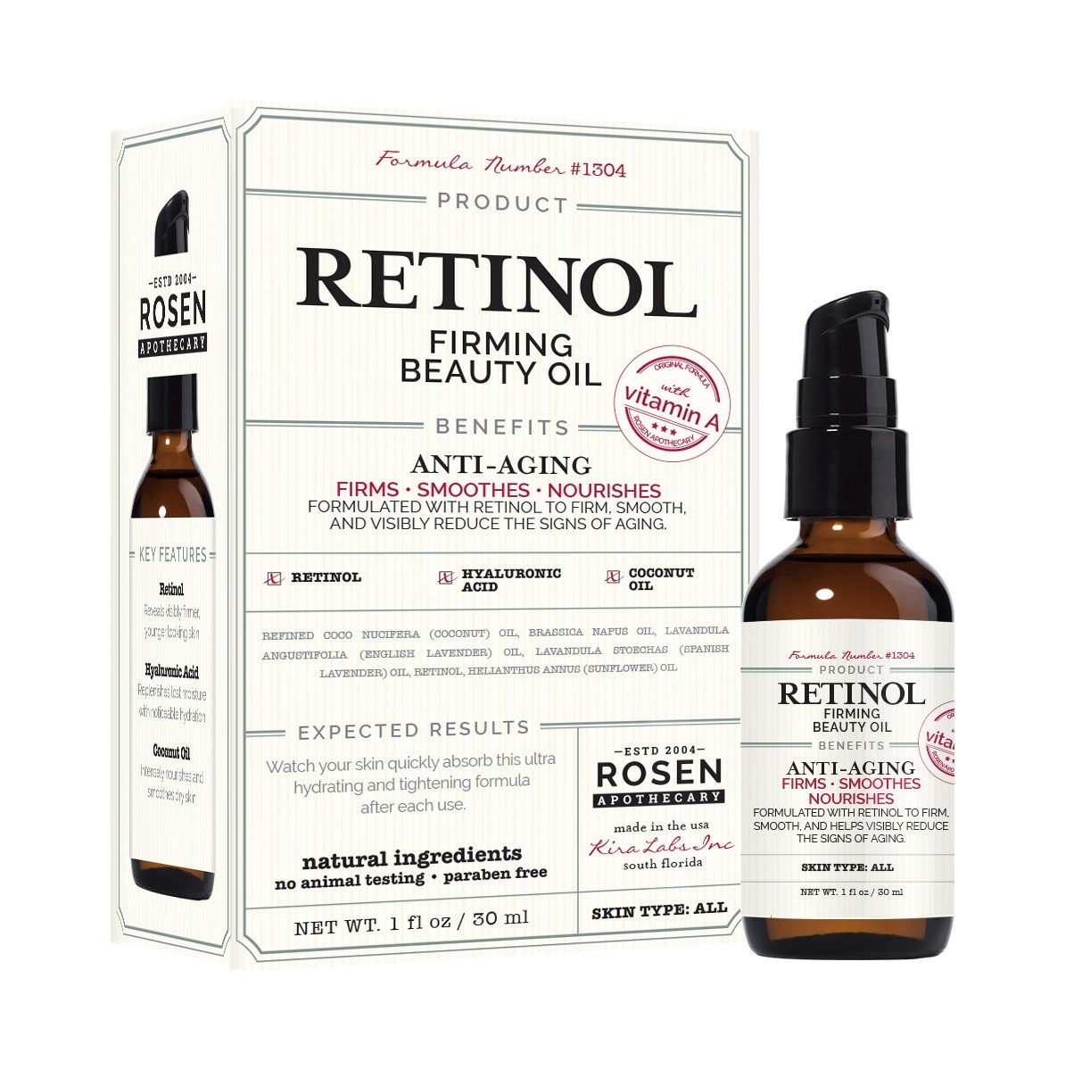 Rosen Apothecary Retinol Firming Beauty Oil With Vitamin A 1oz 30ml
