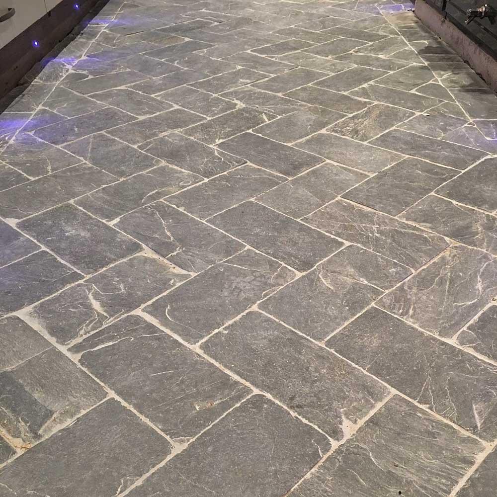 slate herringbone grey tiles
