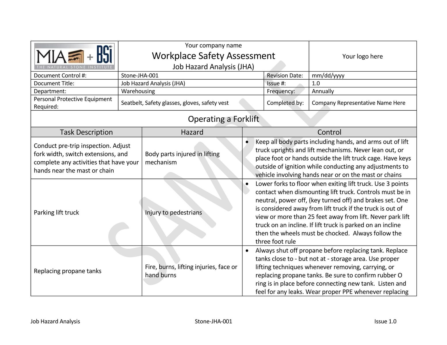 Simple Risk Assessment Worksheet