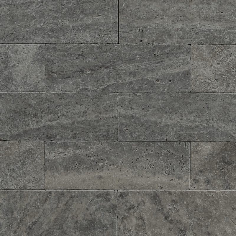 silver travertine unfilled tumbled subway tiles