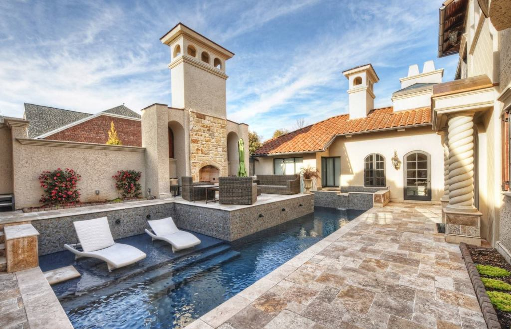 Scabos Travertine Tumbled Pavers French Pattern and Bullnose Coping