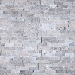 Silver Travertine Ledger Stone Panel