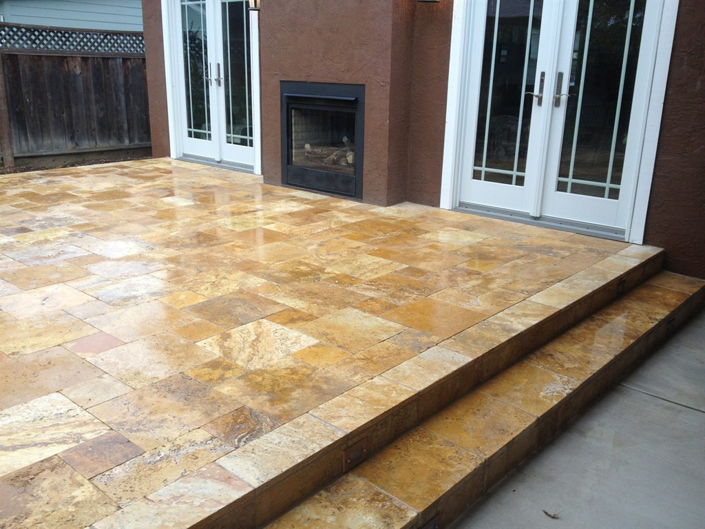 Gold Travertine Pavers Tumbled French Pattern
