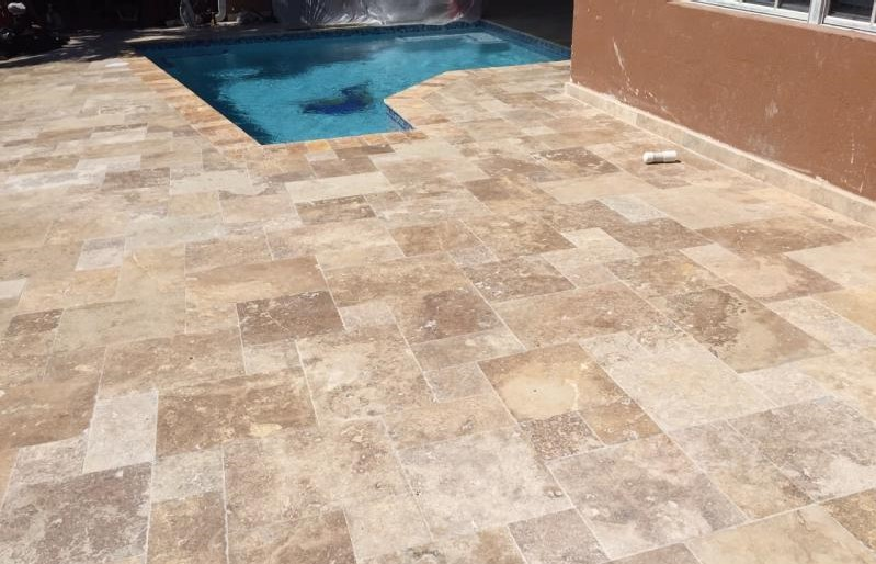 Mocha Travertine Pavers Tumbled French Pattern Design