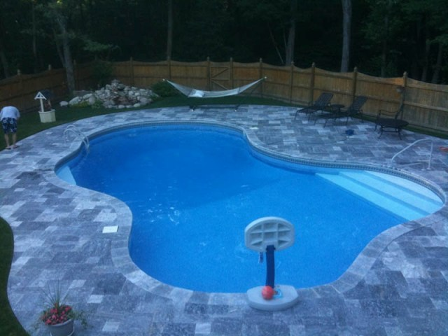 King BlueStone (Atlantic Blue) Marble Pavers Pattern Pool Deck