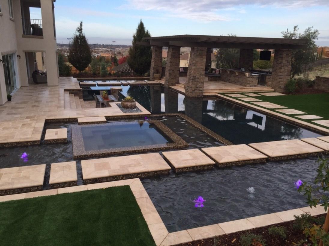 Walnut travertine pattern pavers patio and pool coping stone El Dorado Hills