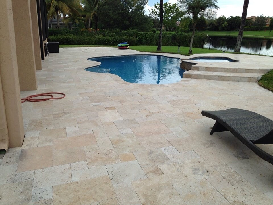 Tuscany Blend Travertine Pavers Pattern Patio around the pool San Jose California